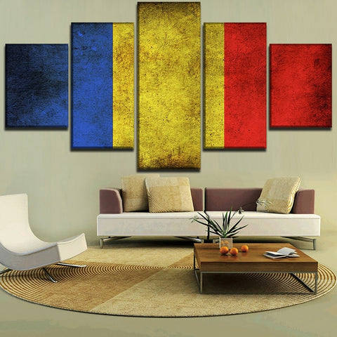5 Panel Framed Romanian Flag Modern Décor Canvas Wall Art HD Print