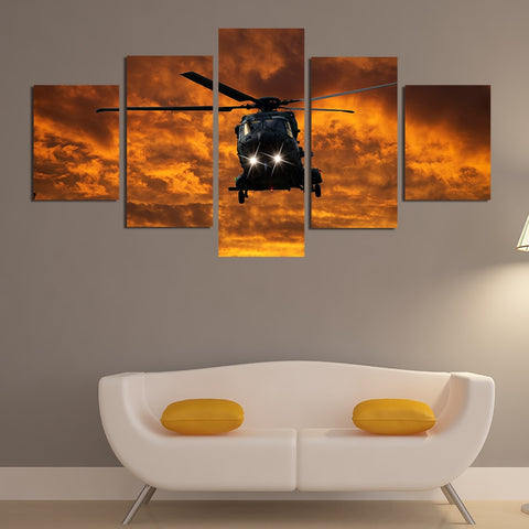 5 Panel Military Aircraft at Sunset Modern Decor Canvas Wall Art HD Print