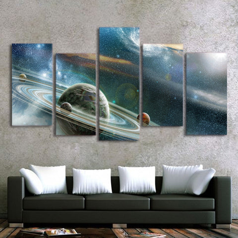 5 Panel Framed Sci-Fi Universe Modern Décor Canvas Wall Art HD Print