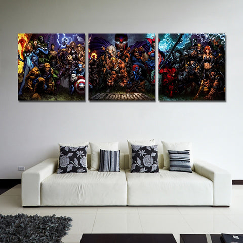 3 Panel The Avengers Team Comic Modern Decor Canvas Wall Art HD Print