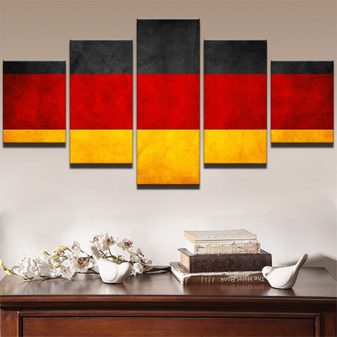 5 Panel German Flag Modern Décor Wall Art Canvas HD Print
