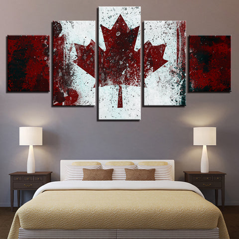 Home Decoration Wall Pictures Living Room Painting Modular 5 Panel Canada Flag Framework HD Printed Modern Art Canvas Posters