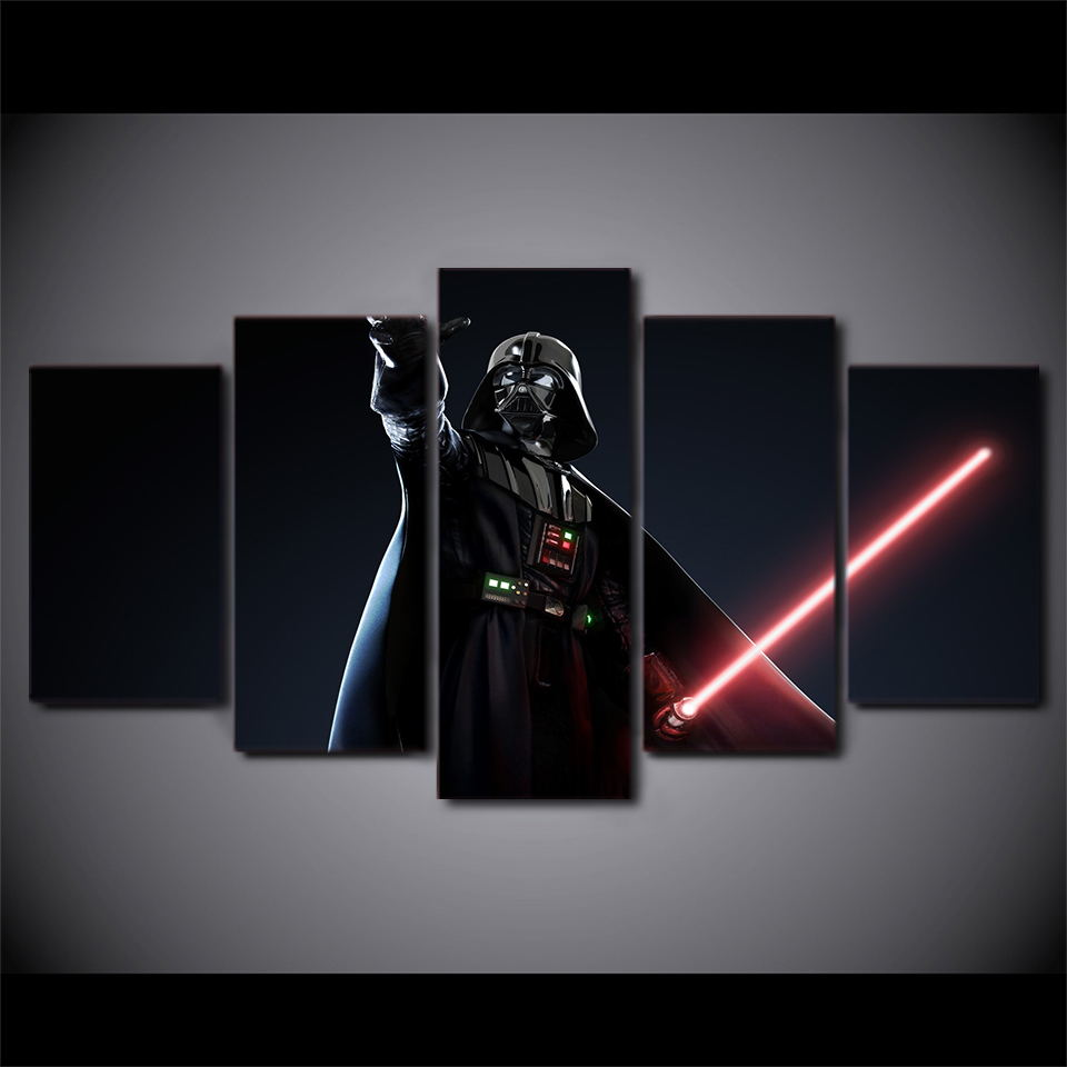 5 Panel Star Wars Darth Vader Modern Decor Canvas Wall Art HD Print