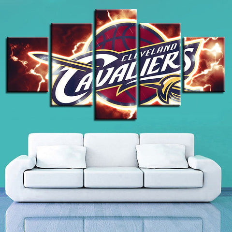 5 Panel Cleveland Cavaliers Modern Decor Canvas Wall Art HD Print