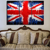 3 Panel Painted Union Jack British Flag Modern Décor Wall Art Canvas HD Print