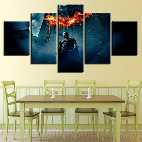 5 Panel Batman & Flaming Logo Modern Décor Wall Art Canvas HD Print