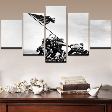 5 Panel WWII Iwo Jima Soldiers Waved Their Flags Modern Decor Canvas Wall Art HD Print