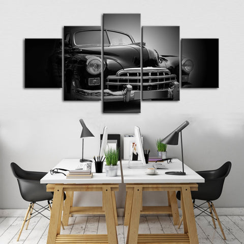 5 Panel B&W Vintage Classic 50's Car Modern Décor Wall Art Canvas HD Print