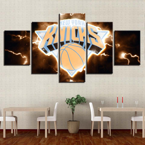 5 Panel New York Knicks Modern Decor Canvas Wall Art HD Print