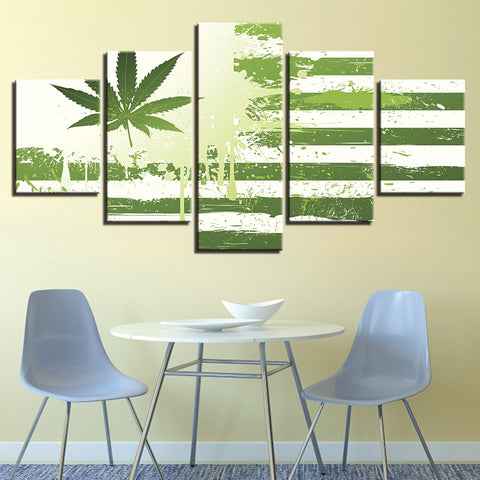 5 Panel American Flag With Marijuana Leaf Modern Decor Canvas Wall Art HD Print