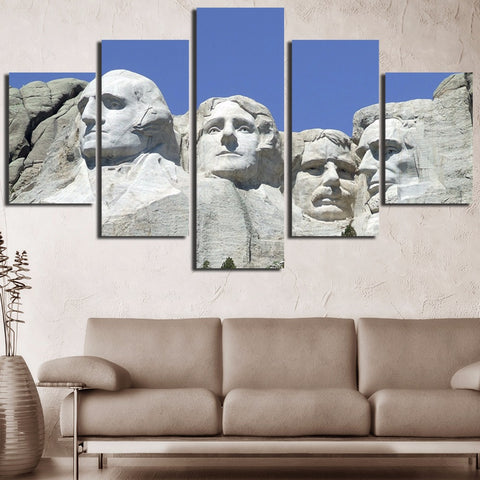 5 Panel Mount Rushmore Landscape Modern Décor Wall Art Canvas HD Print