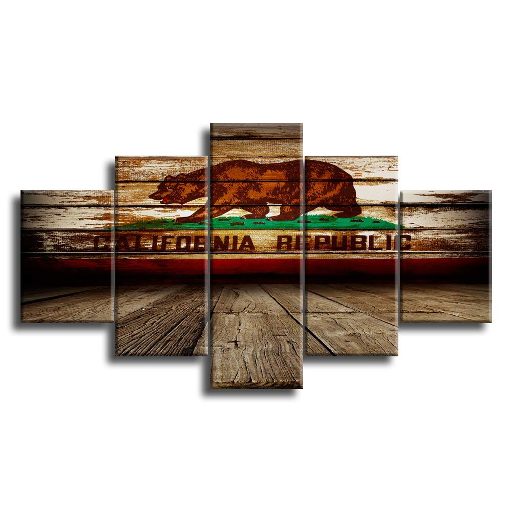5 Panel Framed California Republic Flag Modern Décor Canvas Wall Art HD Print