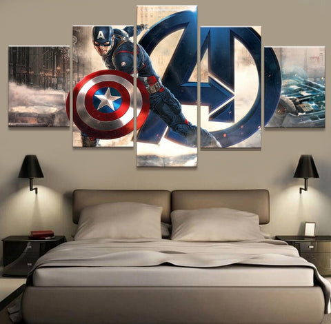 5 Panel Movie Captain America Modern Decor Canvas Wall Art HD Print