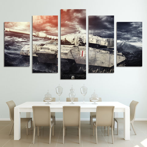 5 Panel M1A1 Abrams Battle Tank Modern Décor Wall Art Canvas HD Print
