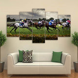 5 Panel Framed Horse Racing Scene Modern Décor Wall Art Canvas HD Print