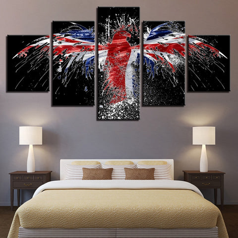 5 Panel Framed Union Jack Eagle Flag Modern Décor Canvas Wall Art HD Print
