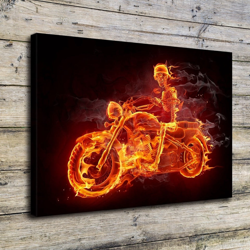 Fire Skeleton Motorcycle Biker Modern Décor Wall Art Canvas HD Print