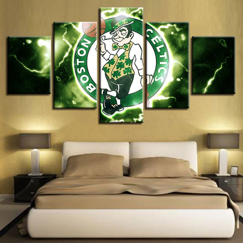 5 Panel Boston Celtics Modern Decor Canvas Wall Art HD Print