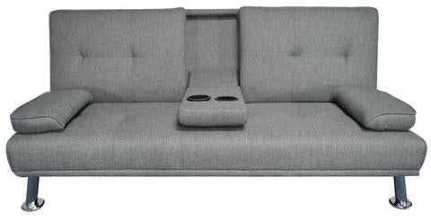 Hela 3-Seater Linen Sofa Bed with Cup Holder