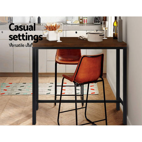 Artiss Vintage Industrial High Bar Table for Stool Kitchen Cafe Desk Dark Brown