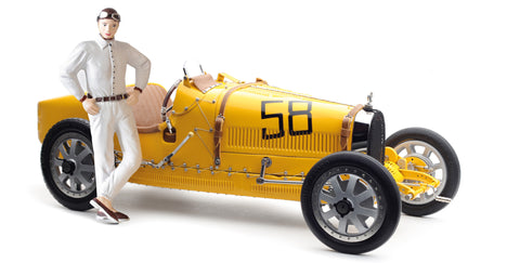M-100 (B-017) - CMC Bugatti Type 35 Grand Prix, Yellow Livery with a Female Racer Figurine