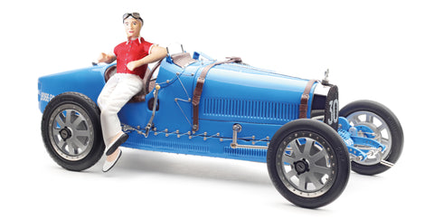 "CMC M-100 (B-018) - Bugatti Type 35 Grand Prix, ""bright blue"" Livery with a Female Racer Figurine"