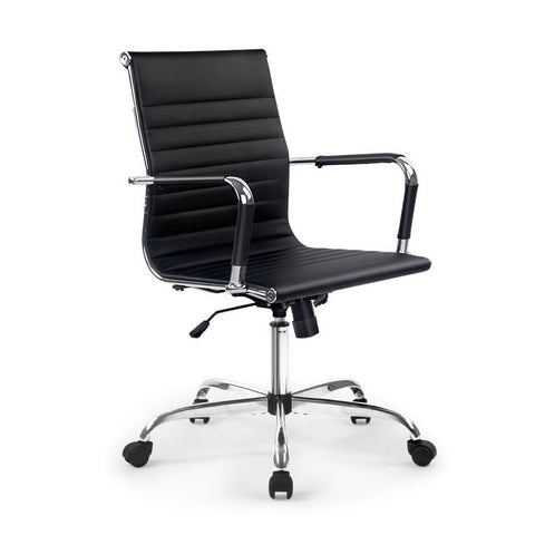 Eames Replica Office Chair Executive Mid Back Seating PU Leather Black