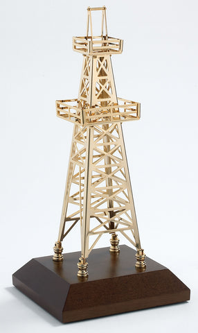 Solid Brass & 24K gold plated DERRICK on wooden base