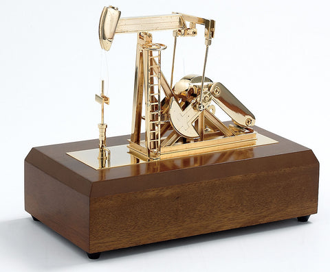 Solid Brass & 24K gold plated OIL PUMP JACK on wooden base (with music)
