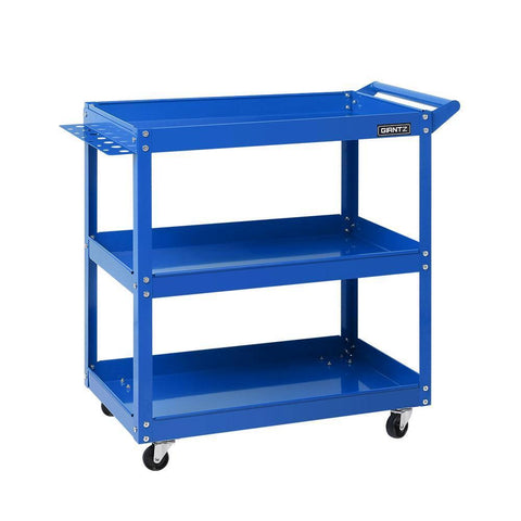 Giantz Tool Cart 3 Tier Parts Steel Trolley Mechanic Storage Organizer Blue