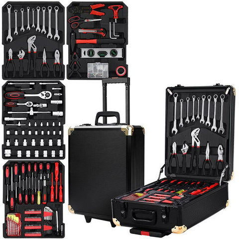 816pcs Tool Kit Trolley Case Mechanics Box Toolbox Portable DIY Set BK