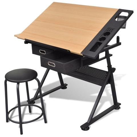 Two Drawers Tiltable Tabletop Drawing Table with Stool