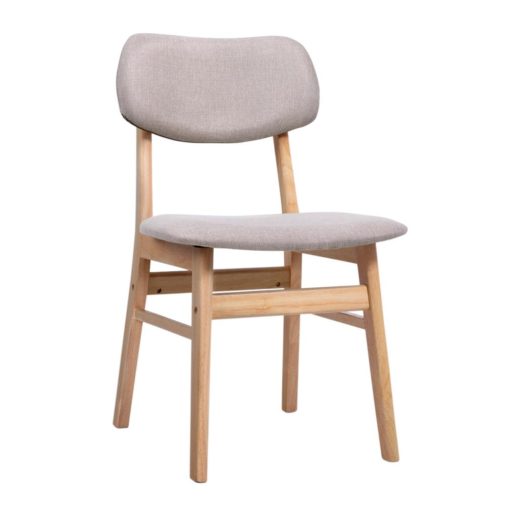 Artiss Dining Chairs Retro Replica Kitchen Cafe Wood Chair Fabric Pad Beige x2