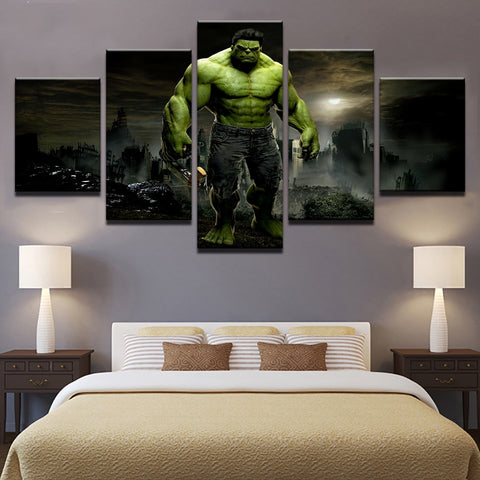 5 Panel Avengers Hulk Modern Decor Canvas Wall Art HD Print