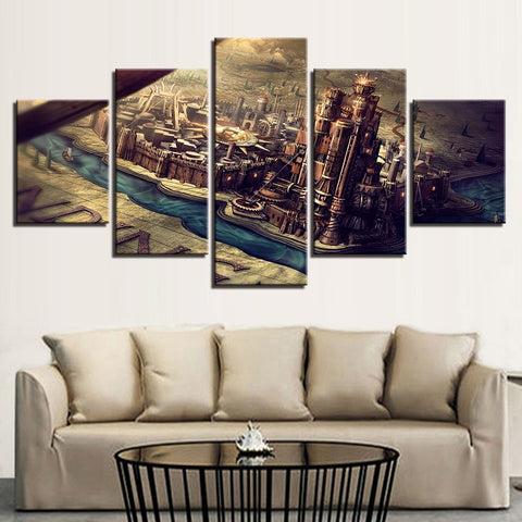 5 Panel Game of Thrones Castle & City Modern Décor Wall Art Canvas HD Print