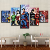 5 Panel Framed DC Justice League Modern Décor Canvas Wall Art HD Print