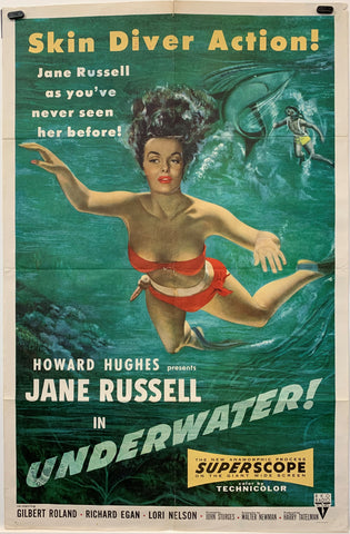 UNDERWATER! (1955) ORIGINAL MOVIE POSTER