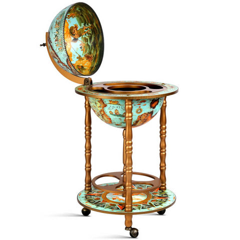 Artiss Globe Drinks Trolley Bar Cart Wine Cabinet Alcohol Serving 36cm Green