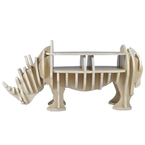 Wooden Rhino Shelf Book Organizer Side Table