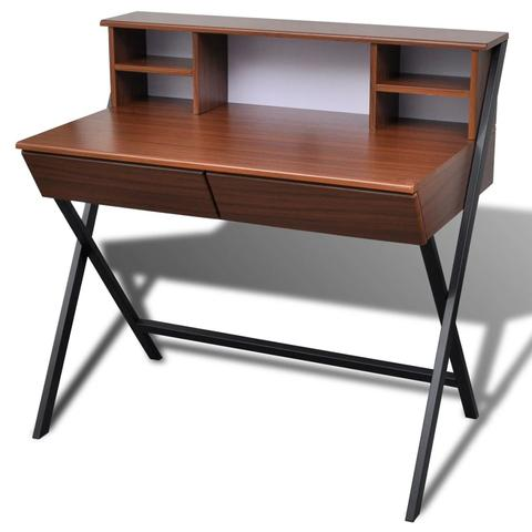 Workstation Computer Desk With 2 Drawers - Brown