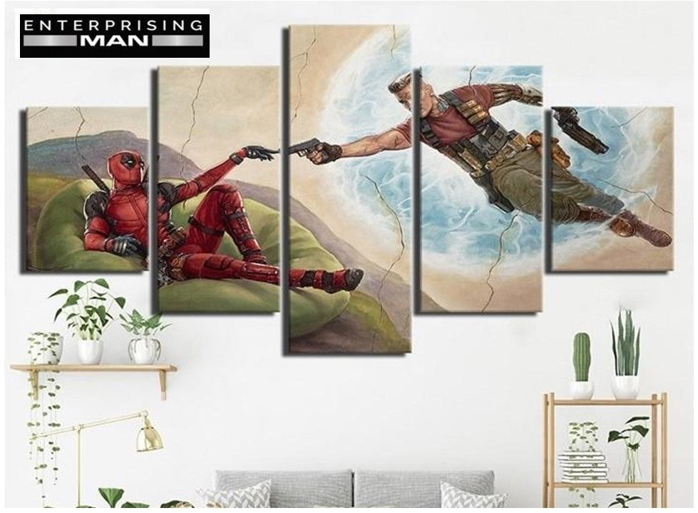 5 Panel Deedpool & Cable The Creation Modern Decor Canvas Wall Art HD Print