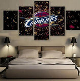 5 Panel Cleveland Cavaliers Logo Modern Decor Canvas Wall Art HD Print