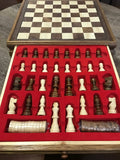 Portable Carved Wooden Chess And Checker Board Set