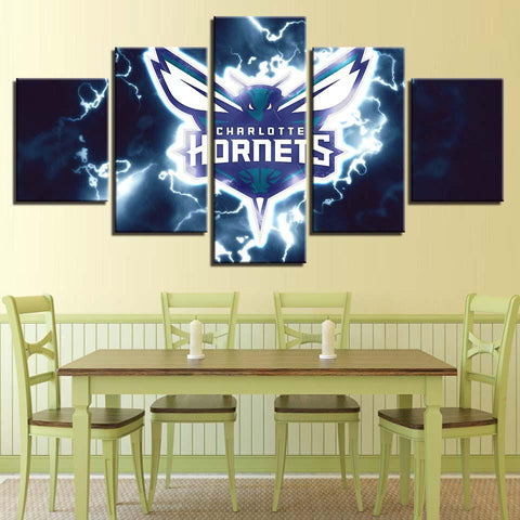 5 Panel Charlotte Hornets Modern Decor Canvas Wall Art HD Print