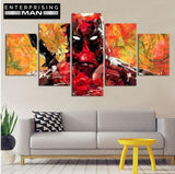 5 Panel Deadpool Abstract Print Modern Decor Canvas Wall Art HD Print