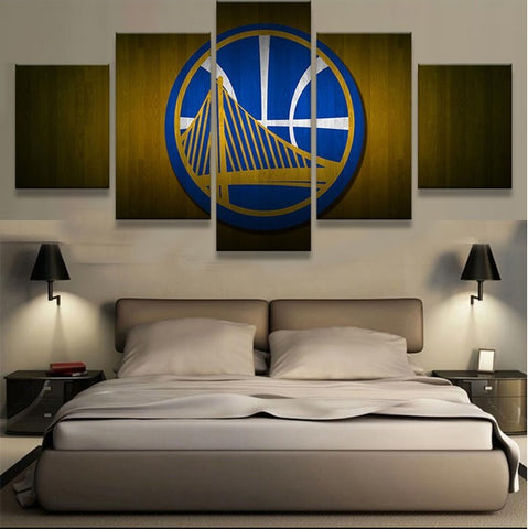 5 Panel Golden State Warriors Modern Decor Canvas Wall Art HD Print
