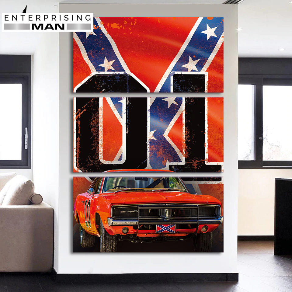3 Panel Framed Dukes of Hazzard Modern Décor Canvas Wall Art HD Print