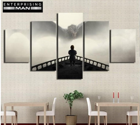 5 Panel GOT Dragon & Tyrion Lannister Modern Décor Wall Art Canvas HD Print