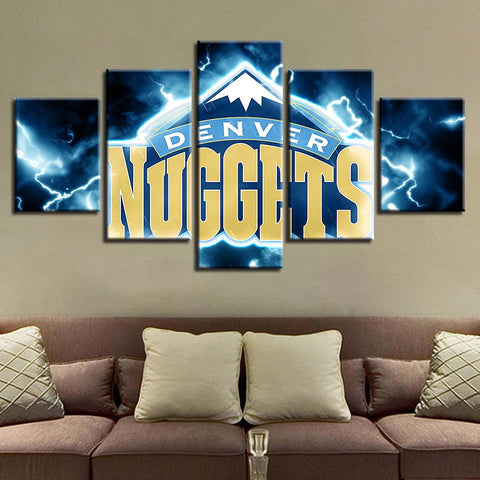 5 Panel Denver Nuggets Modern Decor Canvas Wall Art HD Print