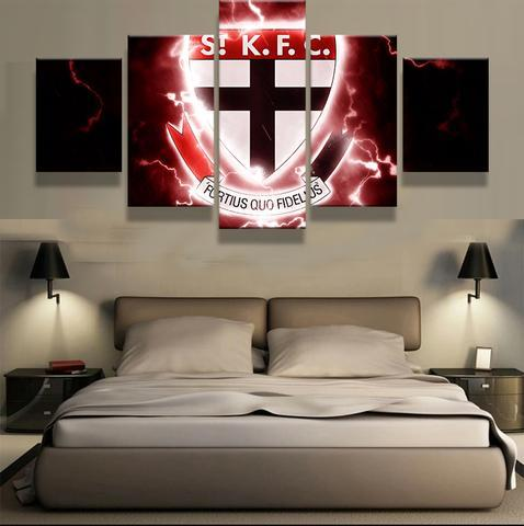 5 Panel St Kilda Football Club Modern Décor Canvas Wall Art HD Print.